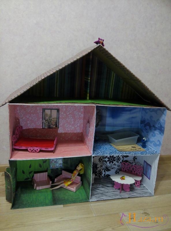 Мастер класс кукольный домик из коробки своими руками 76