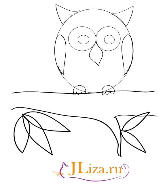 Поэтапное рисование совы в 4 классе