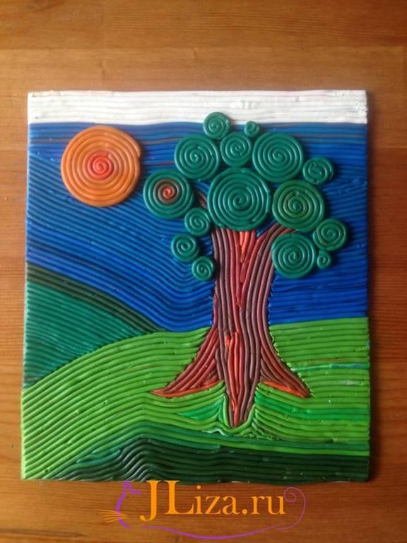Картина из пластилина на картоне 18